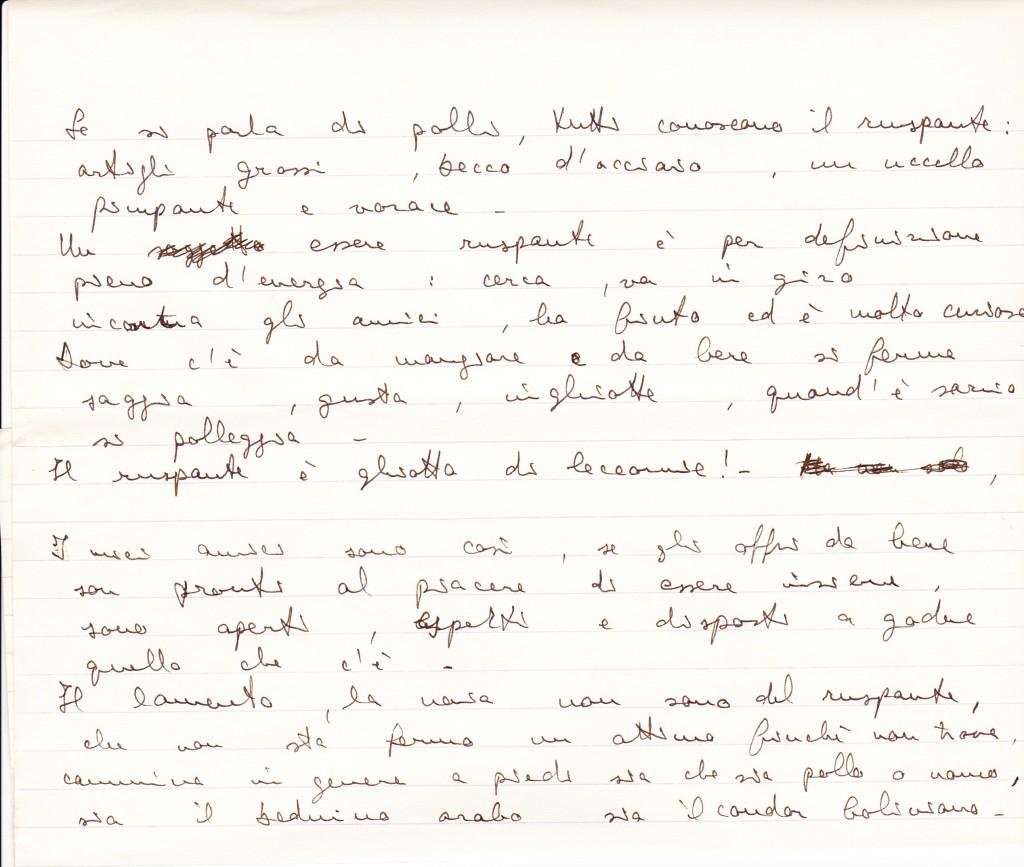 Se si parla di polli... (estratto dell'intervento di Gabriele Baldini in conferenza stampa, calligrafia da medico)